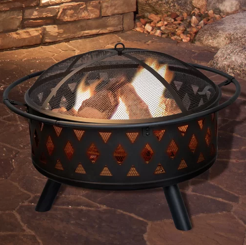 Pure Garden Crossweave Steel Wood Burning Fire Pit. (Photo: Wayfair)