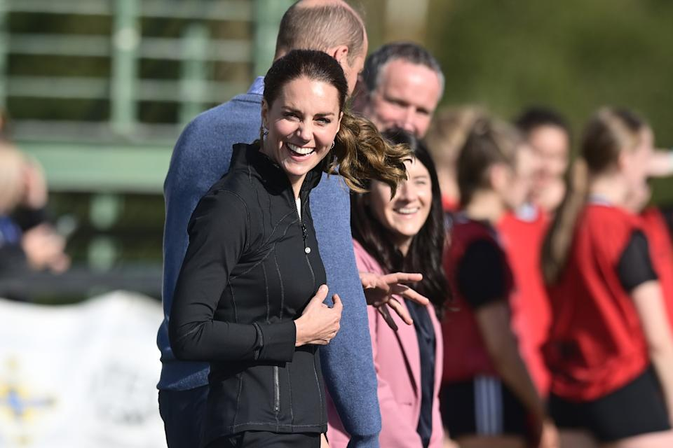 The duchess' sporty jacket was from popular brand Lululemon. (Getty Images)