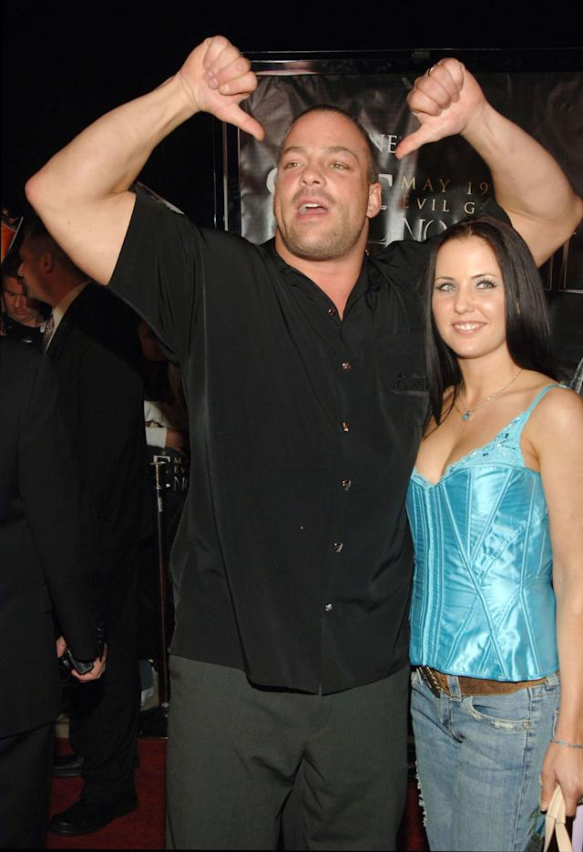Rob Van Dam, WWE Raw Superstar and six time Intercontinental Champion with guest (Photo by J.Sciulli/WireImage for LIONSGATE)