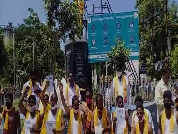 TDP SC cell protested against Reddy govt in Chittoor, Andhra Pradesh (Photo/ANI)