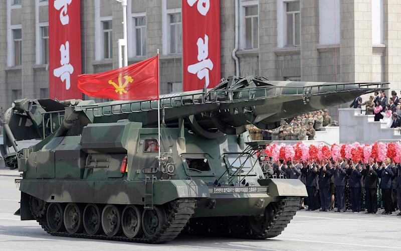 Missiles are paraded across Kim Il Sung Square during a military parade on Saturday, April 15, 2017, in Pyongyang - Credit:  AP