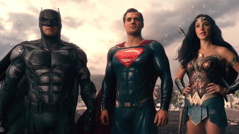Ben Affleck, Henry Cavill and Gal Gadot in 'Justice League'. (Credit: DC/Warner Bros)