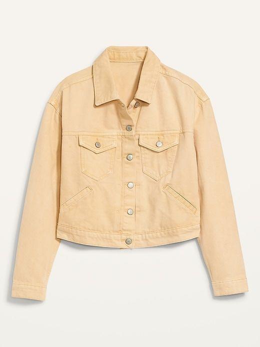 """<p><strong>Old Navy</strong></p><p>Old Navy</p><p><strong>$26.97</strong></p><p><a href=""""https://go.redirectingat.com?id=74968X1596630&url=https%3A%2F%2Foldnavy.gap.com%2Fbrowse%2Fproduct.do%3Fpid%3D671530002&sref=https%3A%2F%2Fwww.prevention.com%2Fbeauty%2Fstyle%2Fg37148346%2Fbest-jean-jackets-for-women%2F"""" rel=""""nofollow noopener"""" target=""""_blank"""" data-ylk=""""slk:Shop Now"""" class=""""link rapid-noclick-resp"""">Shop Now</a></p><p>You can't go wrong with adding a bit of color to your outfit, and doing so with an orange-yellow colored jean jacket is a great way to transition to fall. Plus, it has a cropped style, giving it a modern and stylish take to spruce up your look. """"Whether wearing it with a pair of <a href=""""https://www.prevention.com/beauty/style/g26741374/best-high-waisted-jeans/"""" rel=""""nofollow noopener"""" target=""""_blank"""" data-ylk=""""slk:jeans"""" class=""""link rapid-noclick-resp"""">jeans</a> or layering with a summer dress, the soft yellow color is so very striking,"""" wrote one happy reviewer. """"It will quickly become a staple in your summer and fall wardrobe.""""</p>"""
