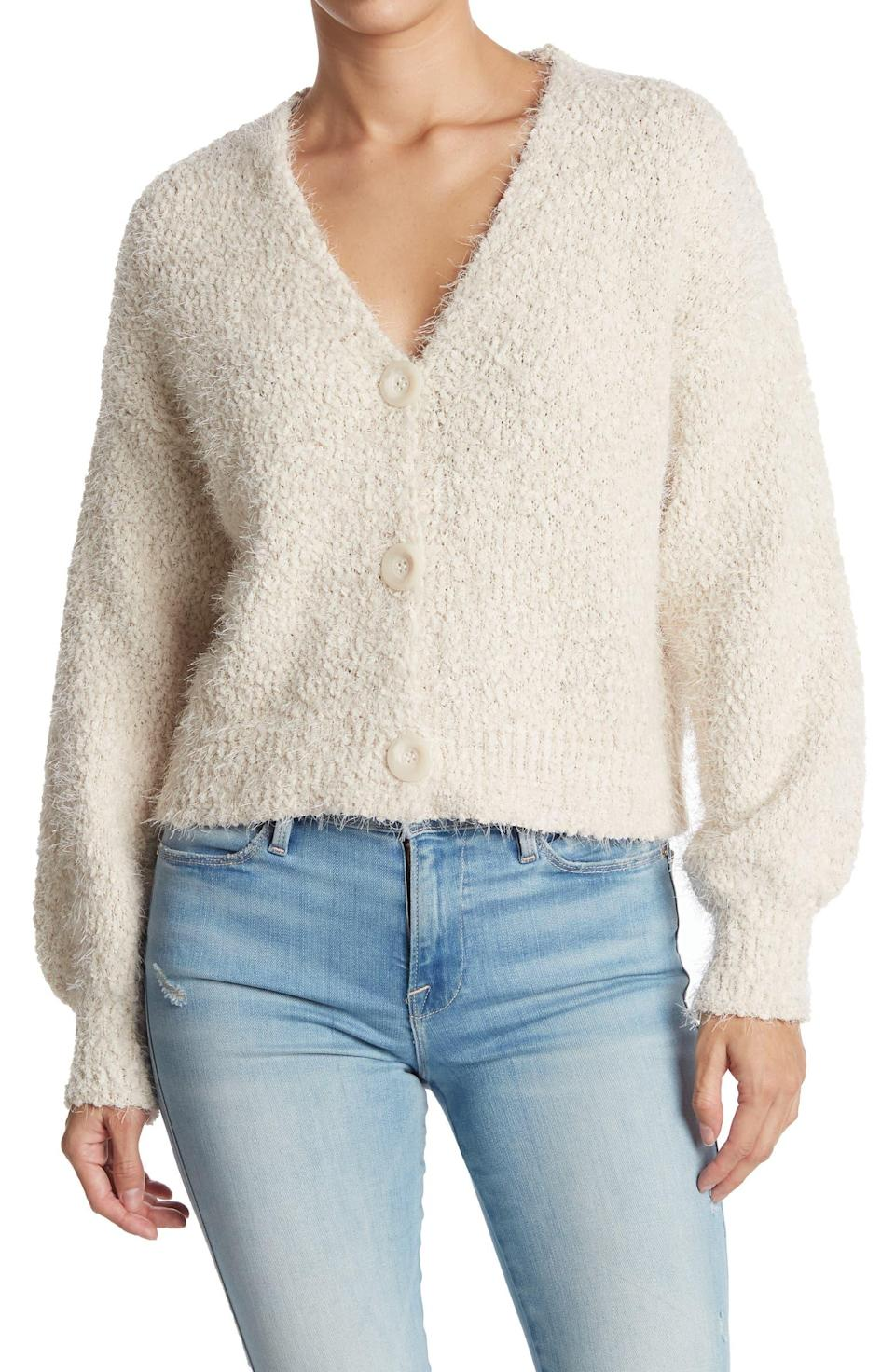 """<br><br><strong>Laundry by Shelli Segal</strong> Eyelash Knit Cardigan, $, available at <a href=""""https://go.skimresources.com/?id=30283X879131&url=https%3A%2F%2Fwww.nordstromrack.com%2Fs%2Flaundry-by-shelli-segal-eyelash-knit-cardigan%2F6266648"""" rel=""""nofollow noopener"""" target=""""_blank"""" data-ylk=""""slk:Nordstrom Rack"""" class=""""link rapid-noclick-resp"""">Nordstrom Rack</a>"""