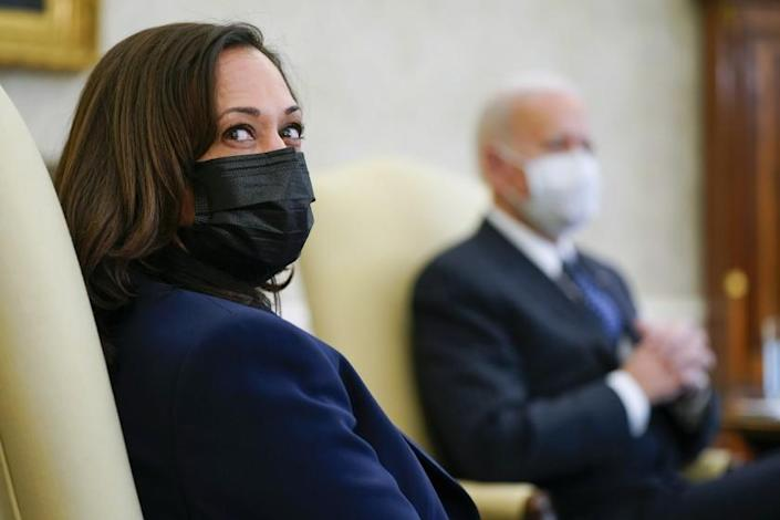 Vice President Kamala Harris meets with business leaders to discuss a coronavirus relief package with President Joe Biden and Treasury Secretary Janet Yellen in the Oval Office of the White House, Tuesday, Feb. 9, 2021, in Washington. (AP Photo/Patrick Semansky)