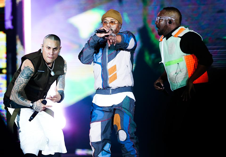 RIO DE JANEIRO, BRAZIL - OCTOBER 05: (L-R) Taboo, Apl.de.Ap and Will.I.am of Black Eyed Peas perform on stageduring Black Eyed Peas concert at Cidade do Rock on October 05, 2019 in Rio de Janeiro, Brazil. (Photo by Alexandre Schneider/Getty Images)