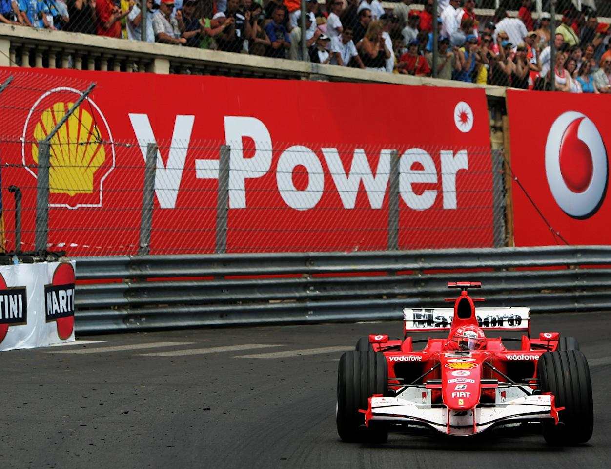 MONTE CARLO, MONACO - MAY 28:  Michael Schumacher of Germany and Ferrari in action during the Monaco Formula One Grand Prix at the Monte Carlo Circuit on May 28, 2006, in Monte Carlo, Monaco.  (Photo by Getty Images for Shell)