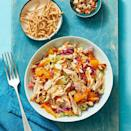 """<p>Turkey isn't just reserved for Thanksgiving! Put your turkey leftovers to good use in this crunchy salad that can be prepared in 10 minutes, and dress it up with some sesame vinaigrette. </p><p><em><a href=""""https://www.womansday.com/food-recipes/food-drinks/a29464872/crunchy-turkey-salad-with-oranges-recipe/"""" rel=""""nofollow noopener"""" target=""""_blank"""" data-ylk=""""slk:Get the Crunchy Turkey Salad with Oranges recipe."""" class=""""link rapid-noclick-resp"""">Get the Crunchy Turkey Salad with Oranges recipe.</a></em></p>"""