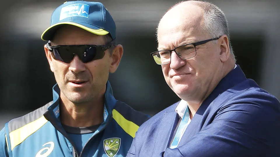 Cricket Australia chairman Earl Eddings, pictured with coach Justin Langer, has resigned on the eve of the annual general meeting. (Photo by Ryan Pierse/Getty Images)
