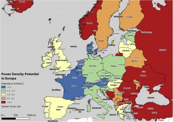 A map showing the power density potential for each European country (University of Sussex / Aarhus University)