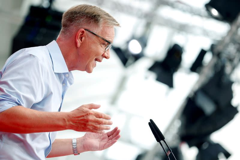 FILE PHOTO: Dietmar Bartsch, parliamentary leader of the German far left party Die Linke, speaks during a party congress in Berlin