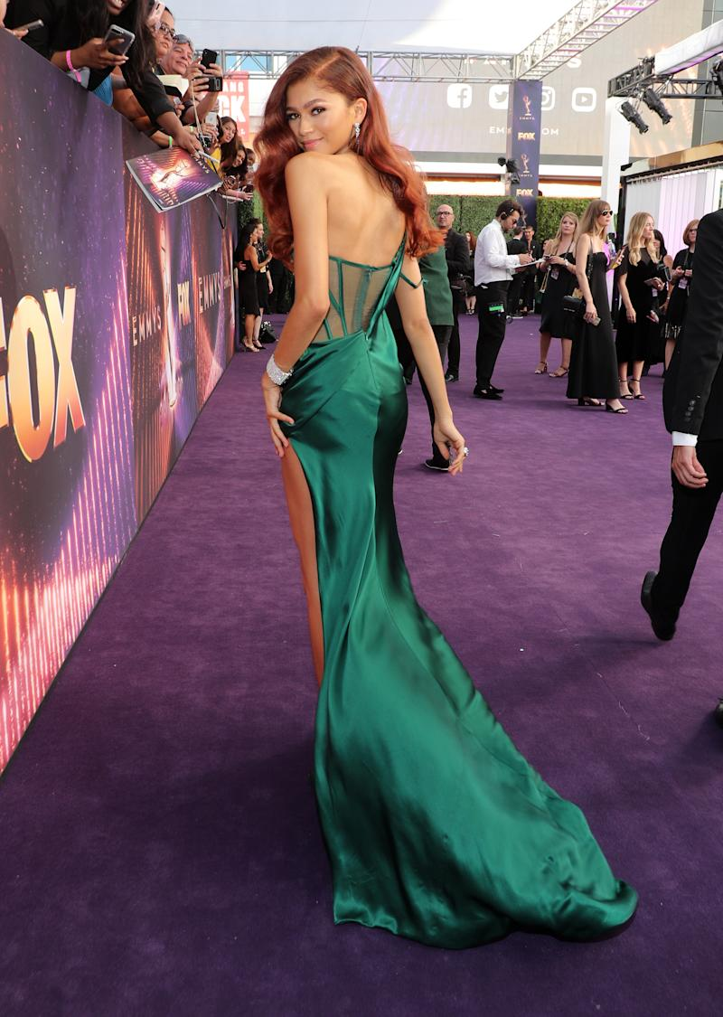 LOS ANGELES, CA - SEPTEMBER 22: Zendaya attends FOXS LIVE EMMY RED CARPET ARRIVALS during the 71ST PRIMETIME EMMY AWARDS airing live from the Microsoft Theater at L.A. LIVE in Los Angeles on Sunday, September 22 (7:00-8:00 PM ET live/4:00-5:00 PM PT live) on FOX. (Photo by FOX Image Collection via Getty Images)