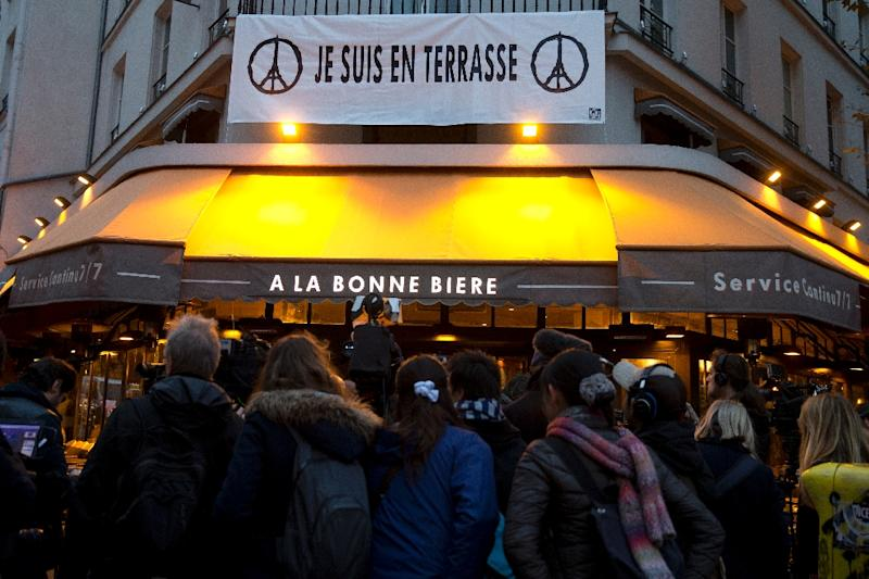 Five people were killed at the Paris bar A La Bonne Biere, which became the first bar hit by the deadly attacks to re-open in the French capital The Paris bar where five people were killed by jihadist gunmen in the November 13 attacks is the first of the attacked bars to re-open, in an emotional step in the city's struggle to regain normality. (AFP Photo/Kenzo Tribouillard)