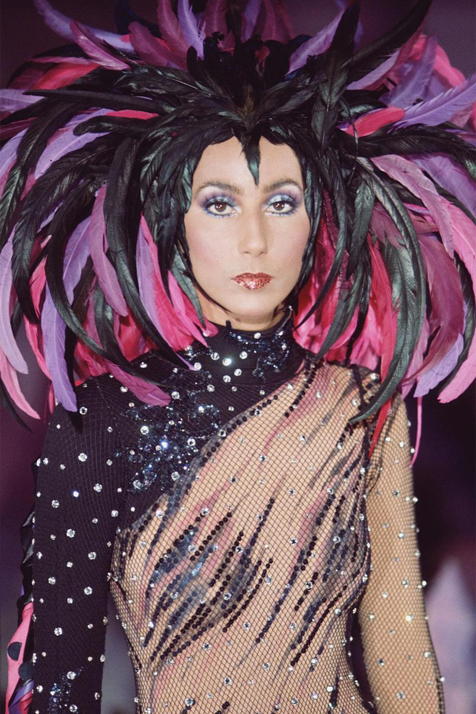 <p>Cher didn't shy away from dramatic looks while filming<em> The Sonny and Cher Comedy Hour </em>in 1972. </p>