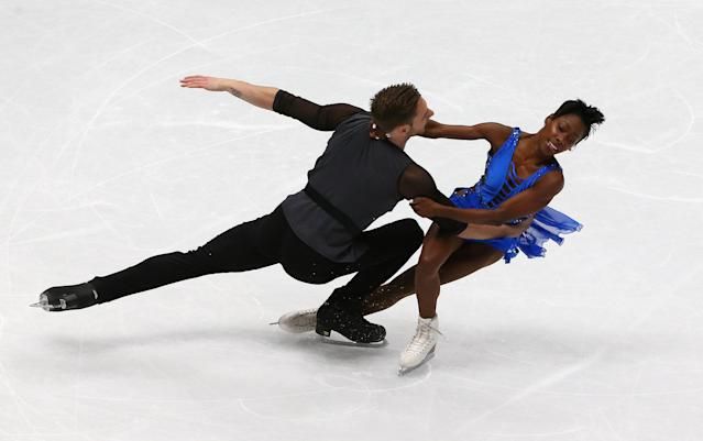 Figure Skating - World Figure Skating Championships - The Mediolanum Forum, Milan, Italy - March 21, 2018 France's Vanessa James and Morgan Cipres during the Pairs Short Programme REUTERS/Alessandro Bianchi