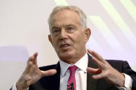 Former British prime minister Tony Blair gives a speech on Brexit at the Institute for Government in central London, Monday Sept. 2, 2019. (Aaron Chown/Pool via AP)