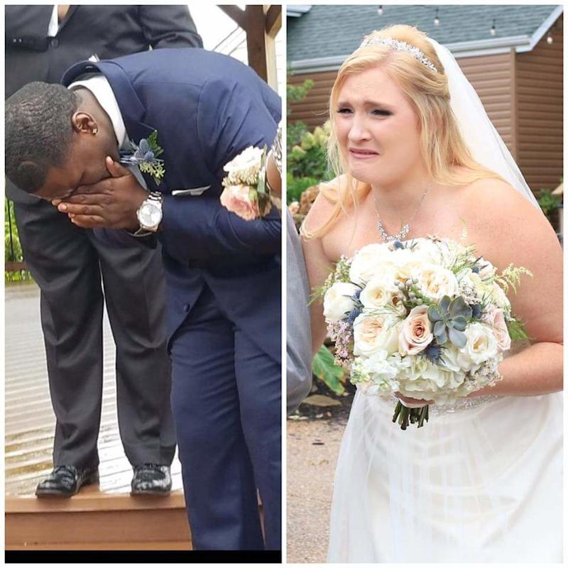 The groom's reaction made the bride cry, too.  (Courtesy of the couple)