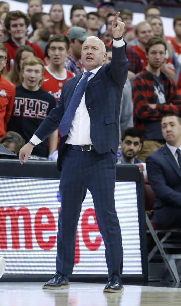 Penn State head coach Patrick Chambers shouts to his team against Ohio State during the second half of an NCAA college basketball game Saturday, Dec. 7, 2019, in Columbus, Ohio. Ohio State beat Penn State 104-74. (AP Photo/Jay LaPrete)