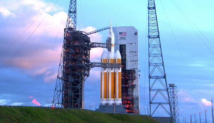 This December 4, 2014 NASA photo shows Orion atop a Delta IV Heavy rocket at Cape Canaveral Air Force station's space launch complex in Florida (AFP Photo/)