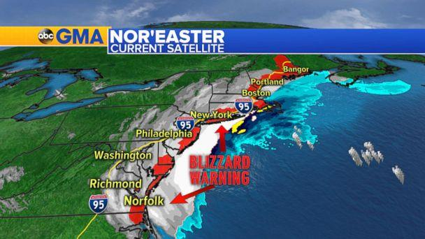 PHOTO: Weather map showing blizzard warning on the east coast of the U.S., Jan. 4, 2018. (ABC News)