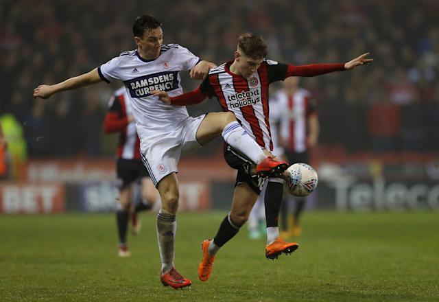 "Soccer Football - Championship - Sheffield United vs Middlesbrough - Bramall Lane, Sheffield, Britain - April 10, 2018 Middlesbrough's Stewart Downing and Sheffield United's David Brooks in action Action Images/Ed Sykes EDITORIAL USE ONLY. No use with unauthorized audio, video, data, fixture lists, club/league logos or ""live"" services. Online in-match use limited to 75 images, no video emulation. No use in betting, games or single club/league/player publications. Please contact your account representative for further details."