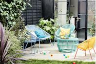 """<p>""""Anything goes in this trend, and bright pops of colour can be mixed and matched to create an eclectic, modern outdoor space,"""" explain the team at John Lewis. </p><p>""""This range lends itself well to smaller outdoor spaces such as patio gardens and balconies, and the introduction of the new Bistro Set is a great addition to the range.""""</p><p><a class=""""link rapid-noclick-resp"""" href=""""https://go.redirectingat.com?id=127X1599956&url=https%3A%2F%2Fwww.johnlewis.com%2Fjohn-lewis-partners-salsa-2-seater-round-garden-bistro-table-chairs-set-agave%2Fp5301961&sref=https%3A%2F%2Fwww.countryliving.com%2Fuk%2Fhomes-interiors%2Fgardens%2Fg35933581%2Fjohn-lewis-garden-collection-spring-summer%2F"""" rel=""""nofollow noopener"""" target=""""_blank"""" data-ylk=""""slk:SHOP NOW"""">SHOP NOW</a></p><p><strong>Like this article? <a href=""""https://hearst.emsecure.net/optiext/cr.aspx?ID=zsATrj4qAwL7PXfHOfbti0xjie5wOfecvOt8e1A3WvL5x0TsMrTgu8waUpN%2BcCNsV3wq_zCaFTleze"""" rel=""""nofollow noopener"""" target=""""_blank"""" data-ylk=""""slk:Sign up to our newsletter"""" class=""""link rapid-noclick-resp"""">Sign up to our newsletter </a>to get more articles like this delivered straight to your inbox.</strong></p><p><a class=""""link rapid-noclick-resp"""" href=""""https://hearst.emsecure.net/optiext/cr.aspx?ID=zsATrj4qAwL7PXfHOfbti0xjie5wOfecvOt8e1A3WvL5x0TsMrTgu8waUpN%2BcCNsV3wq_zCaFTleze"""" rel=""""nofollow noopener"""" target=""""_blank"""" data-ylk=""""slk:SIGN UP"""">SIGN UP</a></p><p><strong>Looking for some positivity? Get </strong><strong>Country Living</strong><strong> magazine posted through your letterbox every month. </strong></p><p><a class=""""link rapid-noclick-resp"""" href=""""https://go.redirectingat.com?id=127X1599956&url=https%3A%2F%2Fwww.hearstmagazines.co.uk%2Fcl%2Fcountry-living-magazine-subscription-website&sref=https%3A%2F%2Fwww.countryliving.com%2Fuk%2Fhomes-interiors%2Fgardens%2Fg35933581%2Fjohn-lewis-garden-collection-spring-summer%2F"""" rel=""""nofollow noopener"""" target=""""_blank"""" data-ylk=""""slk:SUBSCRIBE NOW"""">SUBSCRIBE NOW</a> </p>"""