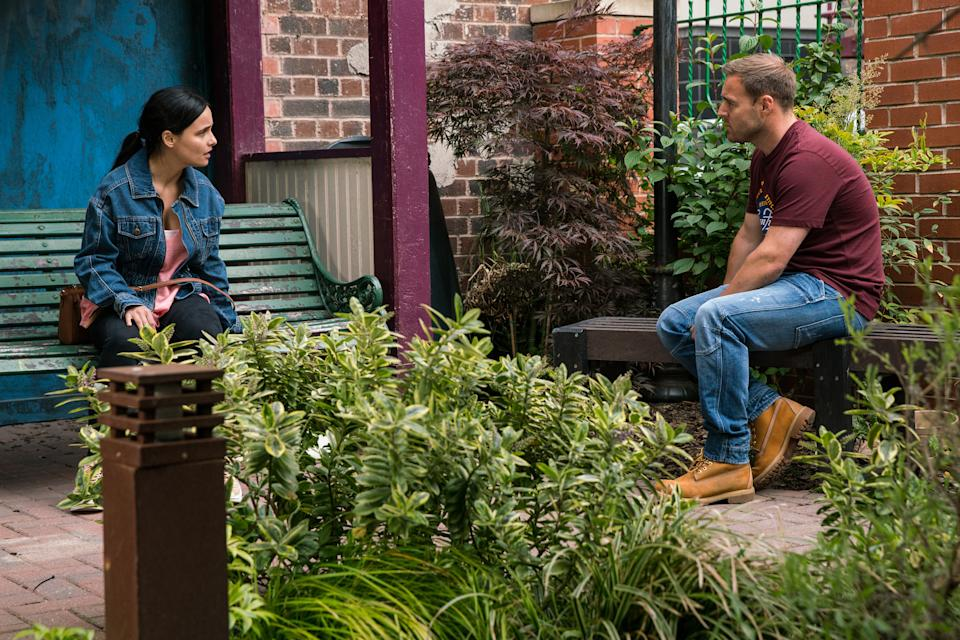 FROM ITV  STRICT EMBARGO - No Use Before Tuesday 3rd August 2021  Coronation Street - Ep 10403  Friday 13th August 2021 - 2nd Ep  Tyrone Dobbs [ALAN HALSALL] catches up with Alina Pop [RUXANDRA POROJNICU] in Victoria Garden and reveals the awful truth, that it was Hope who started the fire. Alina's dumbstruck.   Picture contact David.crook@itv.com   Photographer - Danielle Baguley  This photograph is (C) ITV Plc and can only be reproduced for editorial purposes directly in connection with the programme or event mentioned above, or ITV plc. Once made available by ITV plc Picture Desk, this photograph can be reproduced once only up until the transmission [TX] date and no reproduction fee will be charged. Any subsequent usage may incur a fee. This photograph must not be manipulated [excluding basic cropping] in a manner which alters the visual appearance of the person photographed deemed detrimental or inappropriate by ITV plc Picture Desk. This photograph must not be syndicated to any other company, publication or website, or permanently archived, without the express written permission of ITV Picture Desk. Full Terms and conditions are available on  www.itv.com/presscentre/itvpictures/terms