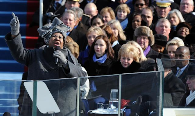<p>Franklin performed at the Inauguration Ceremony of United States President, Barack Obama, US Capitol, Washington DC 20 January, 2009.<br>Credit: Photo by REX/Shutterstock (839708c) </p>