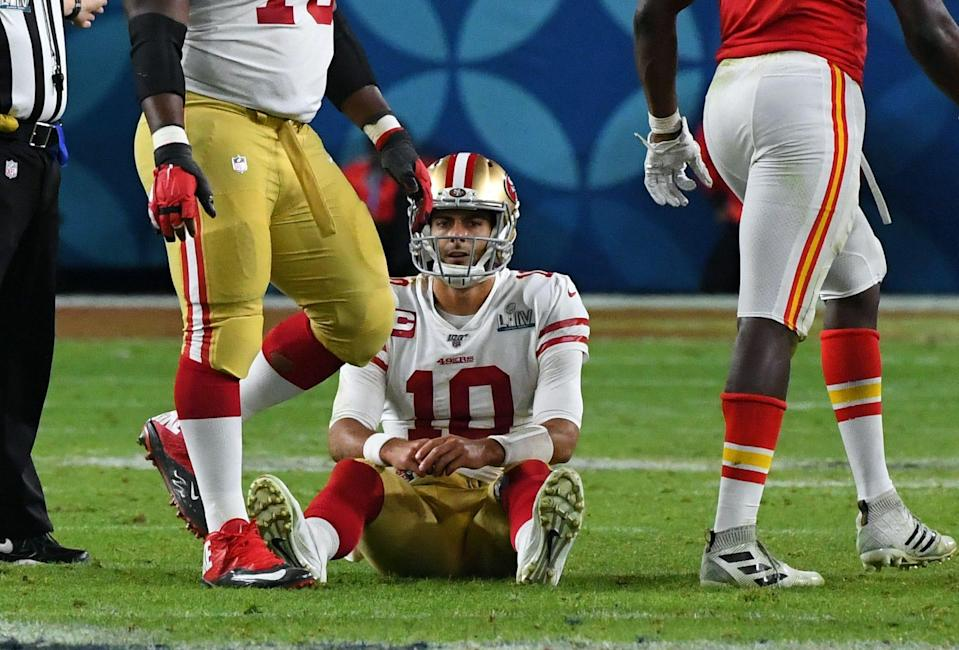 San Francisco 49ers quarterback Jimmy Garoppolo (10) reacts after a sack in the fourth quarter against the Kansas City Chiefs in Super Bowl LIV at Hard Rock Stadium.