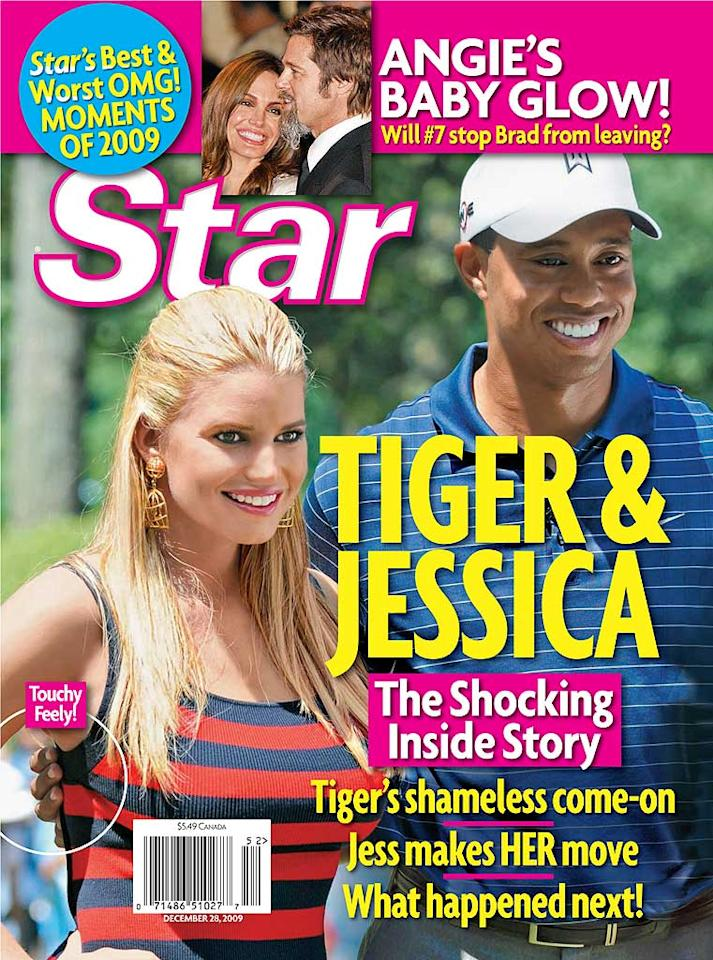 "From the <a href=""http://www.gossipcop.com/jessica-simpson-link-to-tiger-woods-has-many-holes/"" target=""new"">""Are You Serious?"" file</a> came <i>Star</i> magazine's cover linking Jessica Simpson to Tiger Woods. The tab claimed Simpson was happy to see the golf great for a ""flirtatious weekend"" in July for which she packed ""slinky outfits,"" and shared ""brunches"" and ""touchy feely"" moments. Here's what's true: Simpson met Woods -- for the first and only time -- on July 1, 2009 at a golf tournament, where she sang the National Anthem and left hours later. Here's what's not true: EVERYTHING ELSE. Star Magazine"