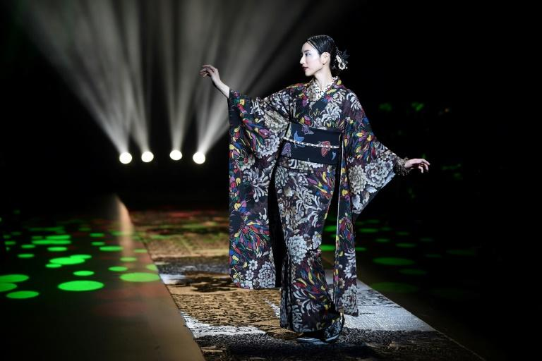A model wearing a creation from Japanese kimono designer Jotaro Saito's 2018 autumn/winter collection at Tokyo Fashion Week