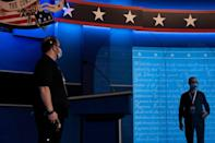 Clear dividers are seen on stage as preparations were made for the final US presidential debate of 2020