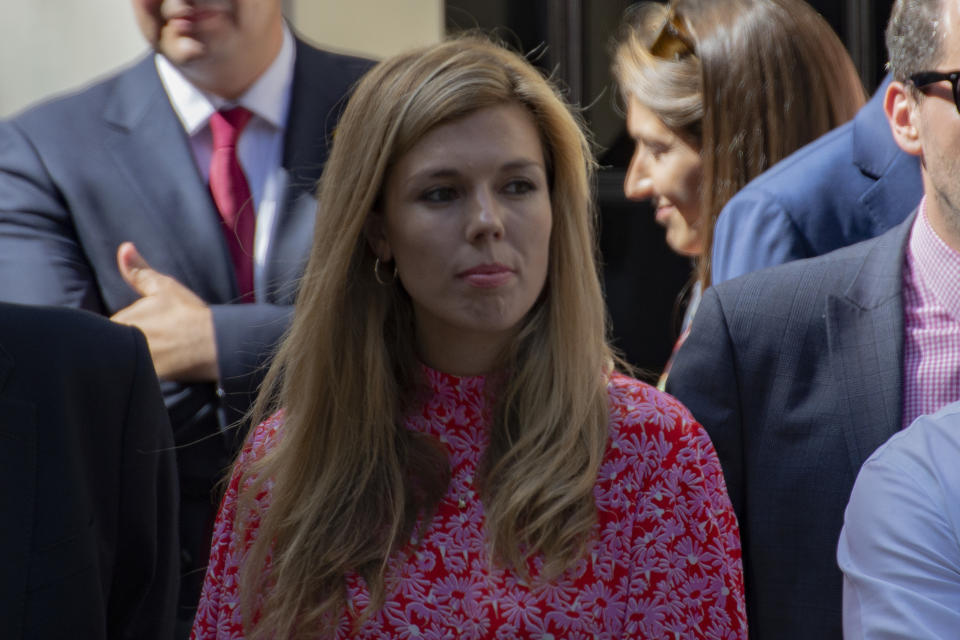 Carrie Symonds, photographed outside Downing St on July 24, 2019, arrived in Balmoral on Friday to meet with the Queen [Photo: Getty Images]