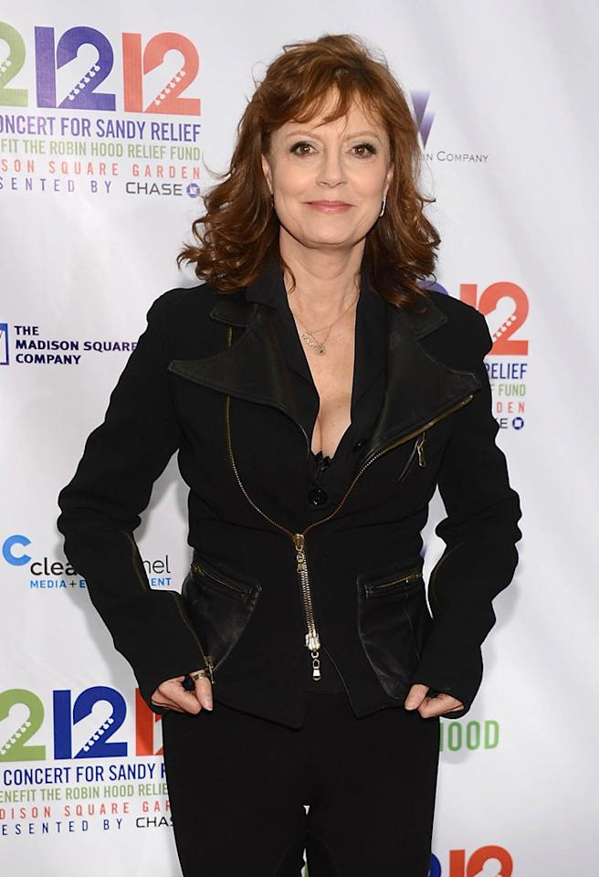 "NEW YORK, NY - DECEMBER 12:  Actress Susan Sarandon attends ""12-12-12"" a concert benefiting The Robin Hood Relief Fund to aid the victims of Hurricane Sandy presented by Clear Channel Media & Entertainment, The Madison Square Garden Company and The Weinstein Company at Madison Square Garden on December 12, 2012 in New York City.  (Photo by Dimitrios Kambouris/Getty Images)"