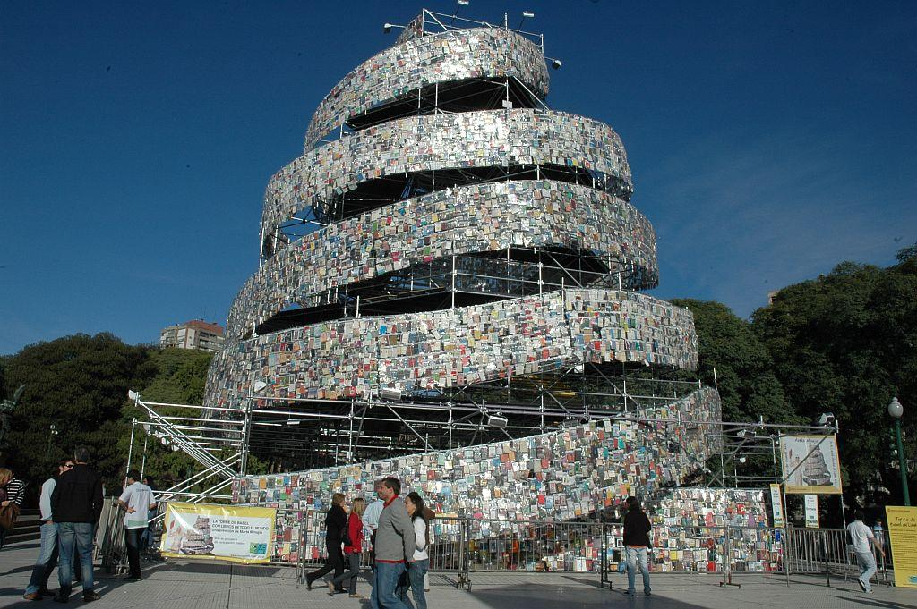 General view of the Babel Book Tower, a work of art made by the Argentine pop artist Marta Minujin at Plaza San Martin in Buenos Aires, Argentina. Over 30,000 books in different languages were used to build this 25-metre-tall tower, which was dismantled after display.