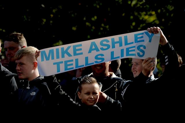 Newcastle fans have protested against owner Mike Ashley for years now. (Getty)