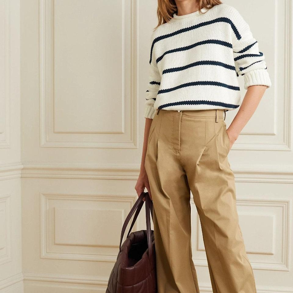 """There's no such thing as too many striped knits, especially when they're La Ligne. $195, Net-a-Porter. <a href=""""https://www.net-a-porter.com/en-us/shop/product/la-ligne/clothing/round-neck/marin-striped-cotton-sweater/11452292646758208"""" rel=""""nofollow noopener"""" target=""""_blank"""" data-ylk=""""slk:Get it now!"""" class=""""link rapid-noclick-resp"""">Get it now!</a>"""