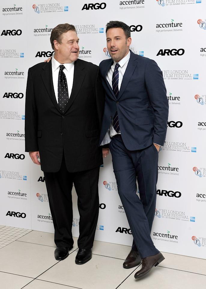 "LONDON, ENGLAND - OCTOBER 17:  Actor John Goodman and director and actor Ben Affleck attend the ""Argo"" premiere during the 56th BFI London Film Festival at the Odeon Leicester Square on October 17, 2012 in London, England.  (Photo by Gareth Cattermole/Getty Images for BFI)"
