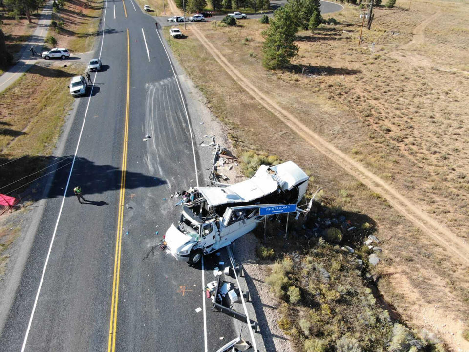 FILE - This photo provided by the Utah Highway Patrol shows a tour bus that crashed near Bryce Canyon National Park in southern Utah on Sept. 20, 2019. The tour bus that crashed and killed four Chinese tourists near a national park in Utah in 2019 had problems earlier that day with the engine not starting, according to a new documents released Wednesday, March 31, 2021, by U.S. authorities investigating the incident. (Utah Highway Patrol via AP, File)