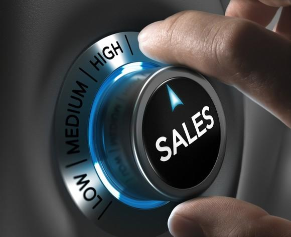 """Man turning dial labeled """"sales"""" to """"high."""""""