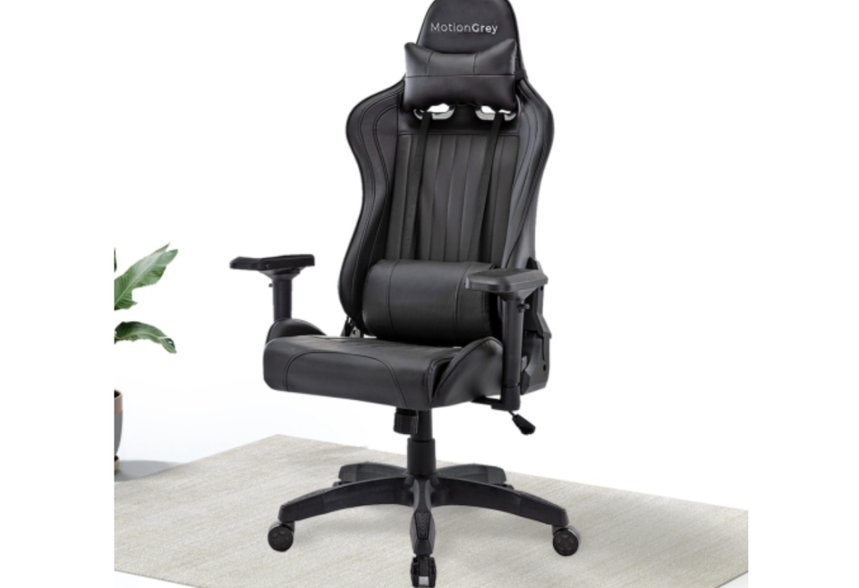 MotionGrey Enforcer - Office Gaming Chair, Comfortable, Ergonomic, High Back, Racing Style, Leather, Reclining Computer Executive Desk Chair with Height Adjustment, Headrest & Lumbar Cushions - Black
