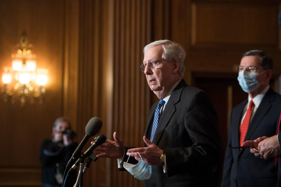 US Senate Majority Leader Mitch McConnell speaks during a news conference with other Senate Republicans at the US Capitol in Washington, DC, on December 15, 2020. (Photo by Rod LAMKEY / POOL / AFP) (Photo by ROD LAMKEY/POOL/AFP via Getty Images)