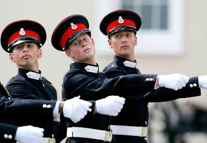 <p>Harry, 21, marches with fellow army cadets in the Trooping of New Colours at the Royal Military Academy in Sandhurst, England. Harry would complete his officer training one year later, when he was commissioned as a Cornet in the Blues and Royals. In 2008, he was promoted to lieutenant.</p>