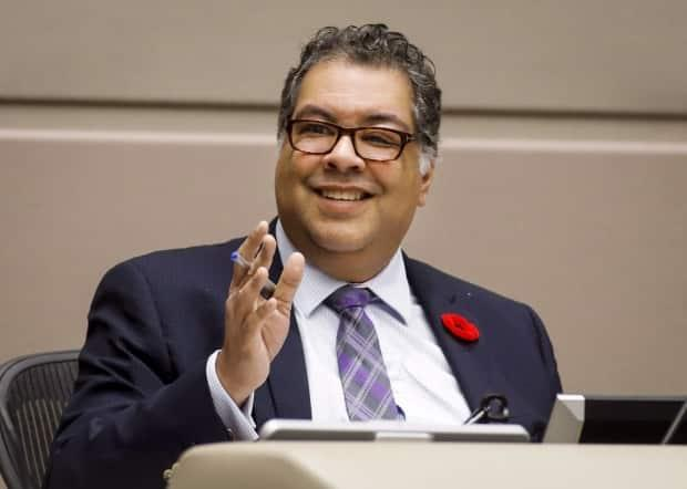 Mayor Naheed Nenshi speaks during a Calgary City council meeting in Calgary on October 31, 2018. 'Every single one of us will struggle with our mental health at some point in our lives, and it's important that the community is there to support that work,' Nenshi said at the Tuesday.  (Jeff McIntosh/The Canadian Press - image credit)