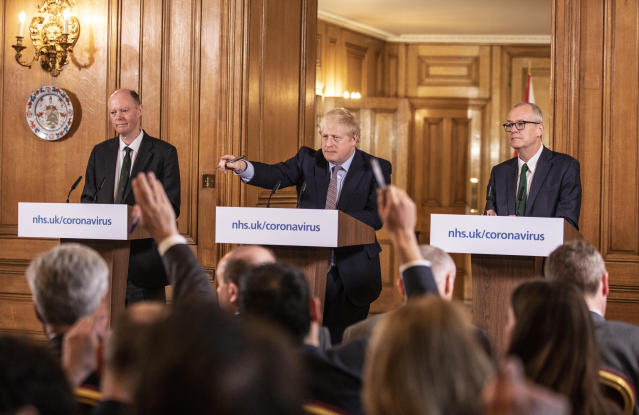 Boris Johnson takes questions at one of the government's earlier coronavirus press conferences. (Richard Pohle/The Times/PA Wire)
