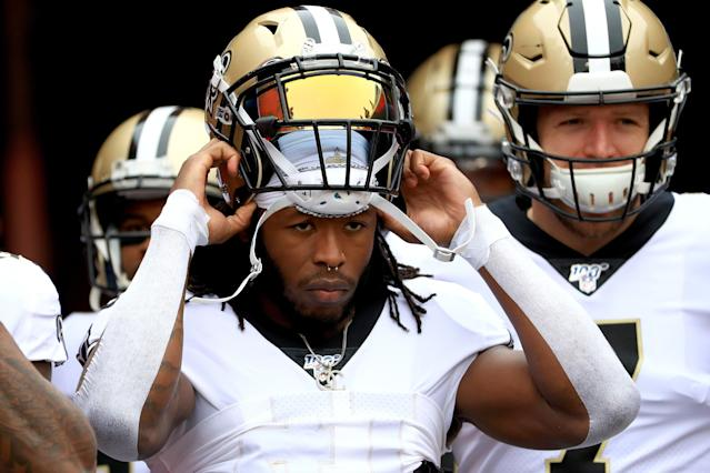 Alvin Kamara looks locked into a massive Week 11 outing. (Photo by Mike Ehrmann/Getty Images)