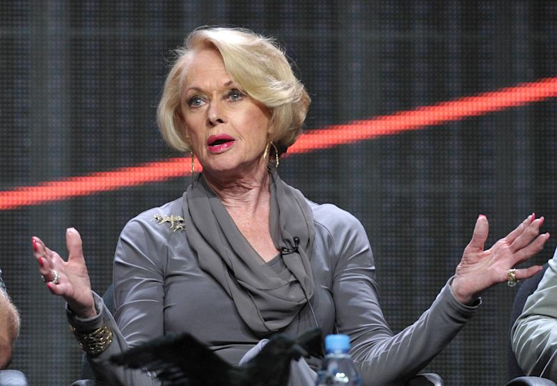 """Actress Tippi Hedren appears onstage during HBO's TCA panel for """"The Girl"""" at the Beverly Hilton hotel on Wednesday, Aug. 1, 2012, in Beverly Hills, Calif. (Photo by John Shearer/Invision/AP)"""