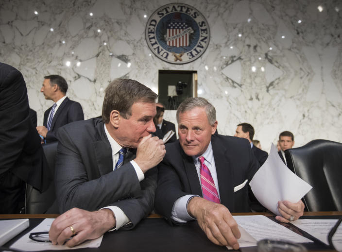 Senate Intelligence Committee Chairman Sen. Richard Burr, R-N.C., right, and committee Vice Chairman Sen, Mark Warner, D-Va., confer on Capitol Hill, June 28, 2017. (Photo: J. Scott Applewhite/AP)