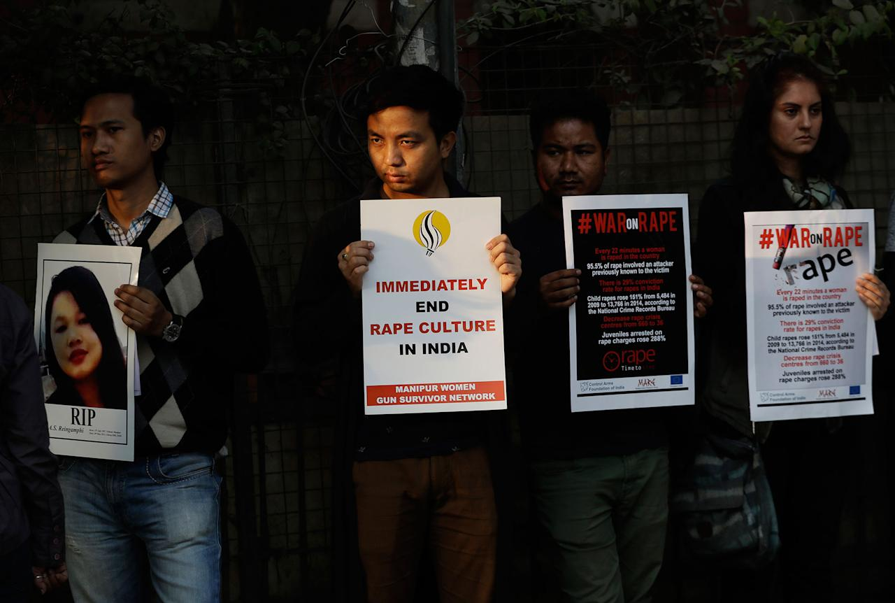 <p>Indians hold placards during a protest against a rape in New Delhi, India, Tuesday, Feb. 21, 2017. A 24-year-old woman from India's north east was sexually assaulted in a public park in New Delhi's Hauz Khas locality after she left home from a pub late February 19. (AP Photo/Tsering Topgyal) </p>