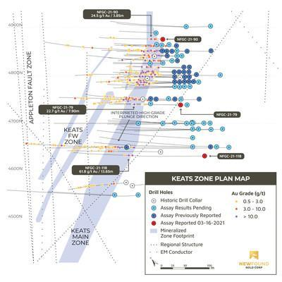Figure 2. Keats Plan View (CNW Group/New Found Gold Corp.)